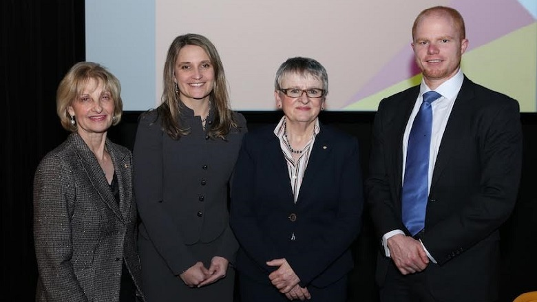 Kelly Bayer Rosmarin, Group Executive of Institutional Banking and Markets, Commonwealth Bank (second left), with Jillian Segal, Chairman of the John Monash Foundation (far left), Justice Virginia Bell (second right) and David Hume, barrister and former John Monash Scholar, at the 2016 General Sir John Monash Oration in Sydney on 4 August 2016.