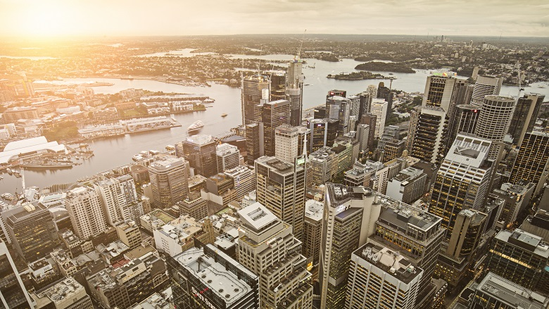 aerial view of sydney buildings