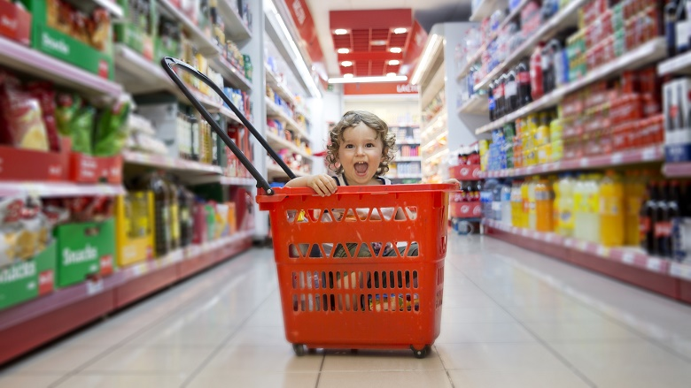 Baby in shopping basket
