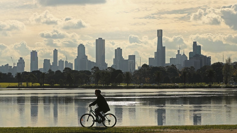 Cyclist and Melbourne city