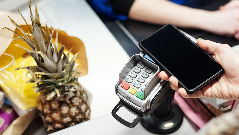 Paying by card at store