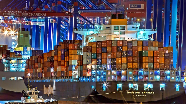 Cargo Ship in port at night