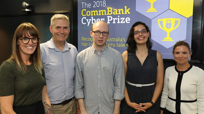Five people gathered at CommBank Cyber Prize