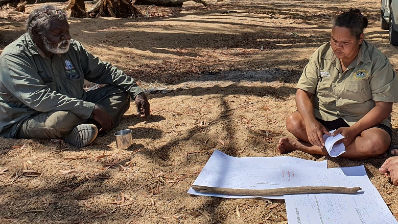 Mapoon ranger verifier Sarah Barkley exploring the co-benefits of carbon farming with Kowanyama elder, John Clarke during the Kowanyama carbon project verification in 2019.