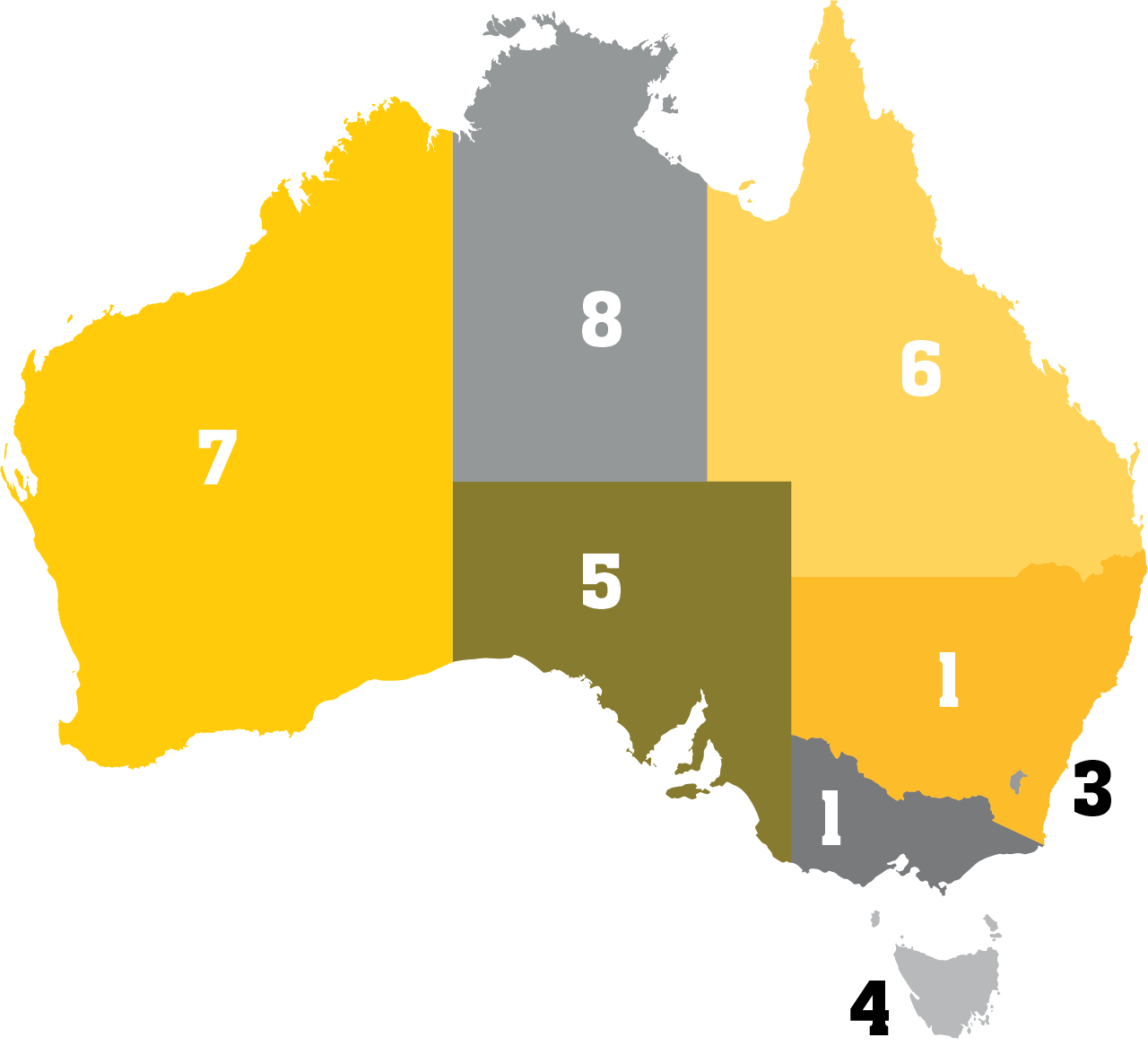 Australia map with rankings