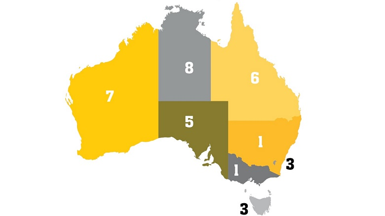 Map of Australia with Rankings