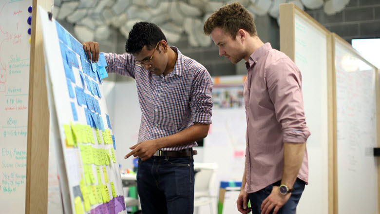 Two CBA employees in a design thinking session at the CBA Innovation Lab