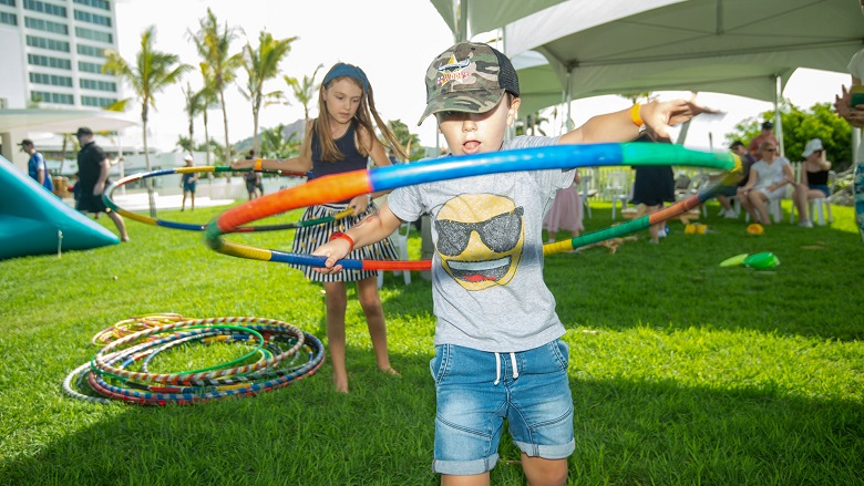 Children hula hooping