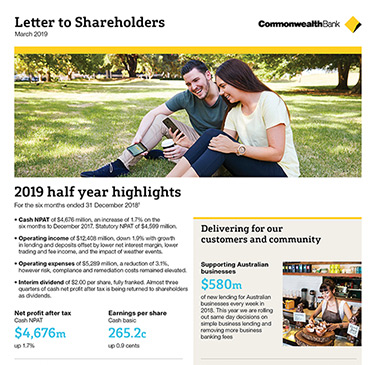 Letter to shareholders - March 2019