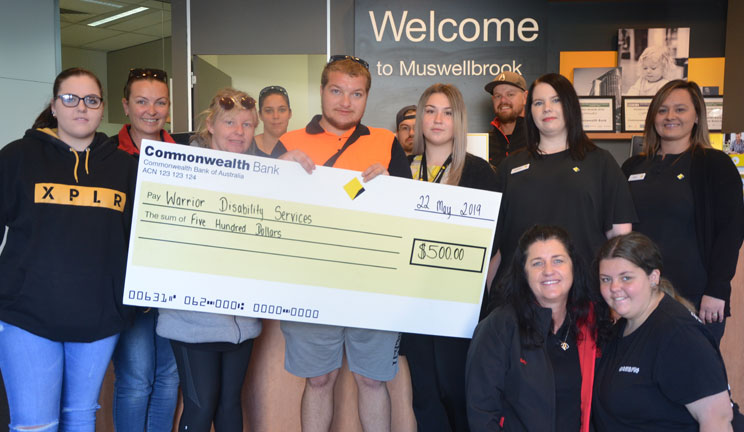 Members of Warrior Disability Services and Muswellbrook branch CommBank staff