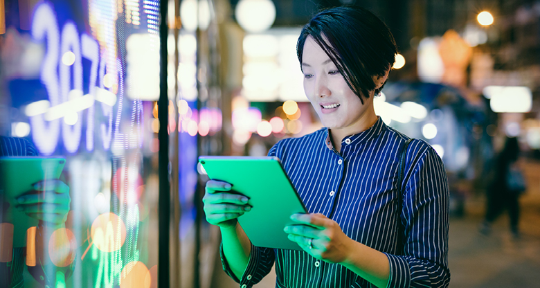 Young woman on an ipad
