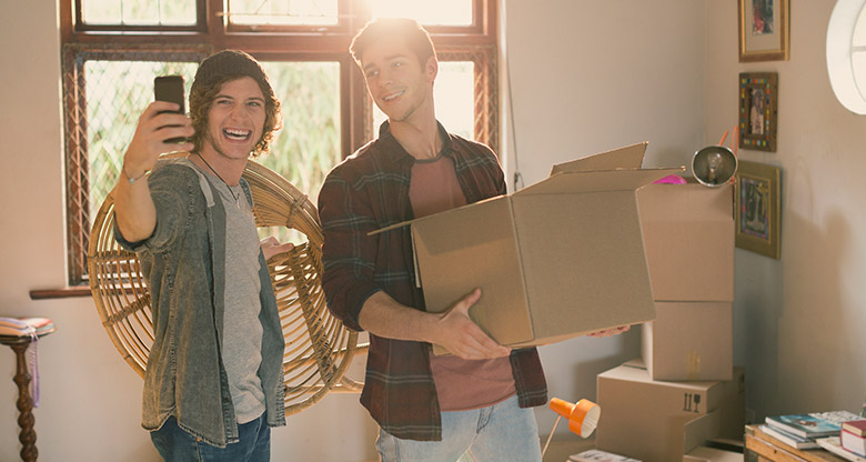 Two men moving house