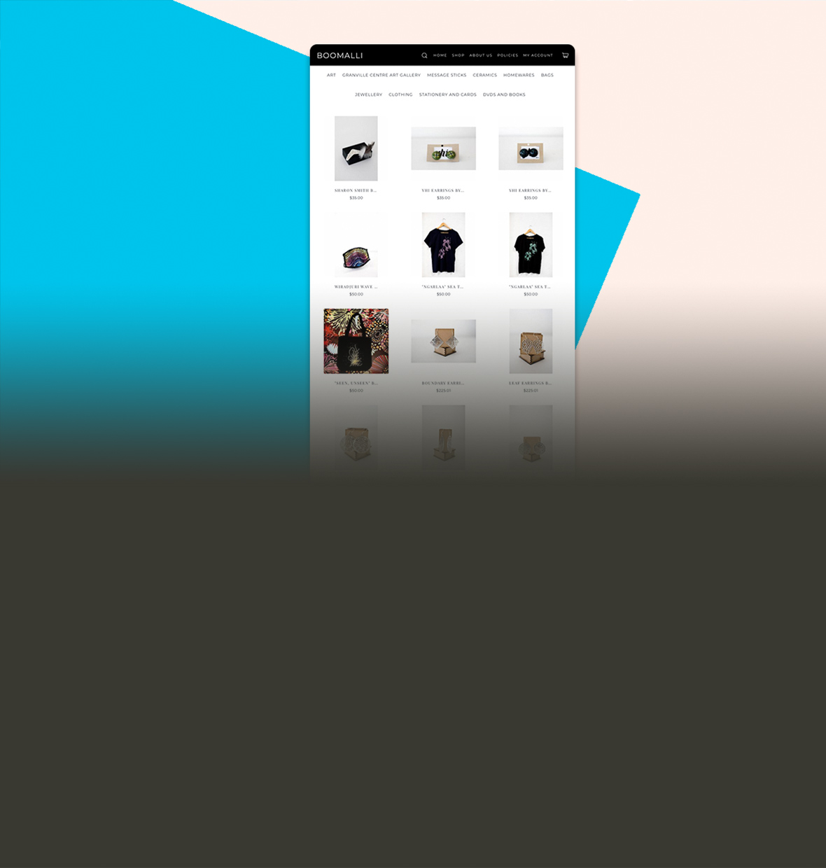 Screenshot of Boomalli store built with Spotify