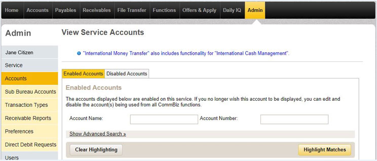 Edit service accounts page in CommBiz with the enabled accounts tab selected and a chosen account highlighted.