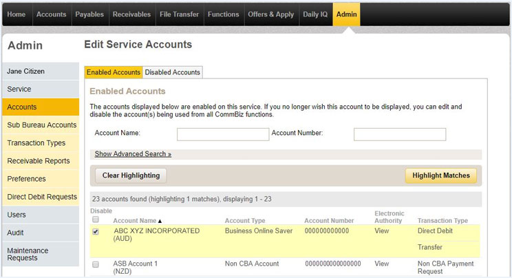 View service accounts page in CommBiz with the enabled accounts tab selected.