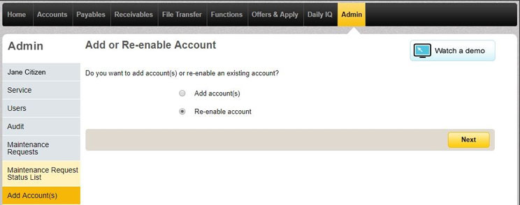 Add or re enable account page in CommBiz under the admin tab with the re enable account button selected.