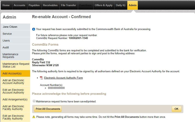 The confirmation page for re enabling accounts that shows all details and forms you need to print off.