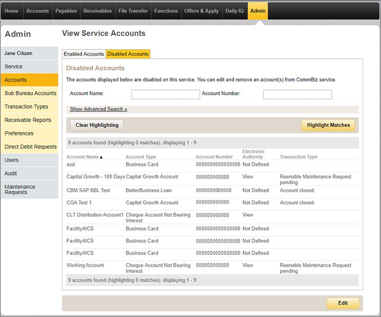 View service accounts page in CommBiz under the admin tab with the disabled accounts tab selected.