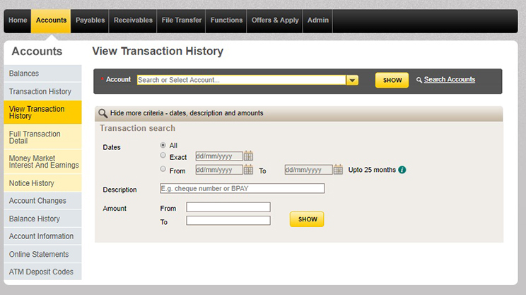 The view transaction history window in CommBiz once you've logged on.