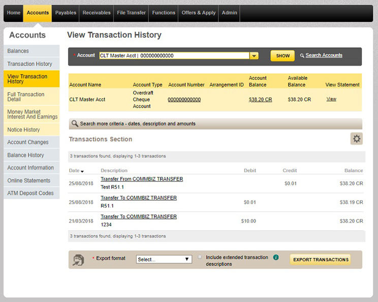 Once you've chosen the account you'd like to view transaction history for, transactions will be displayed.