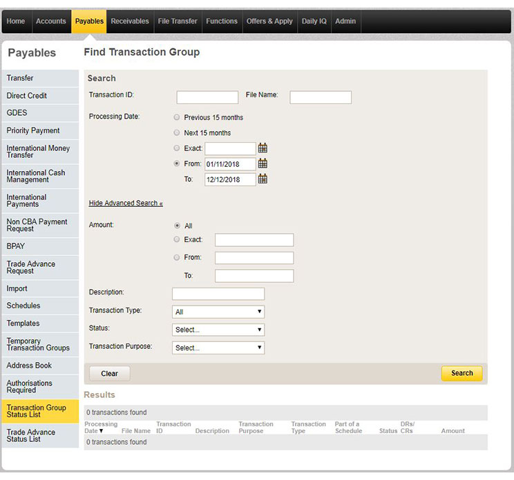 Using the advanced search tool in CommBiz to find a specific transaction group