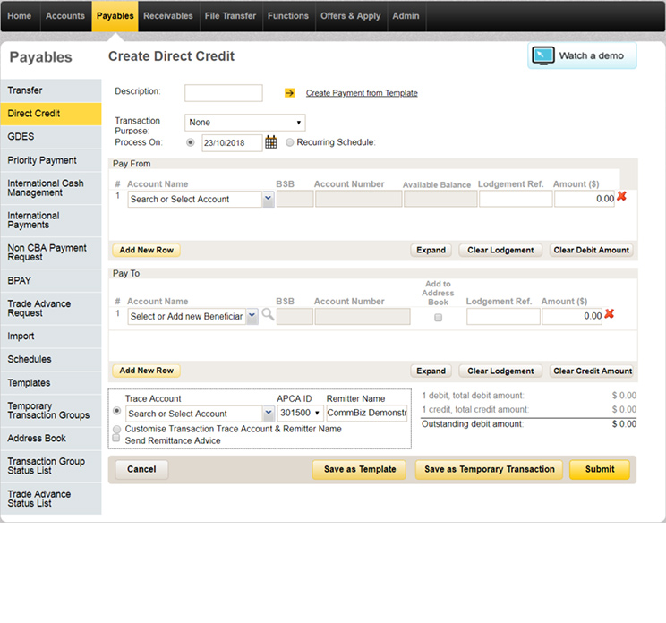 The create a direct credit page in CommBiz where you enter the pay from and to details, remittance advice and APCA ID.