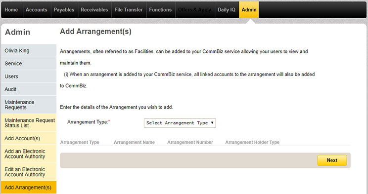 The add arrangements page under the Admin tab in CommBiz