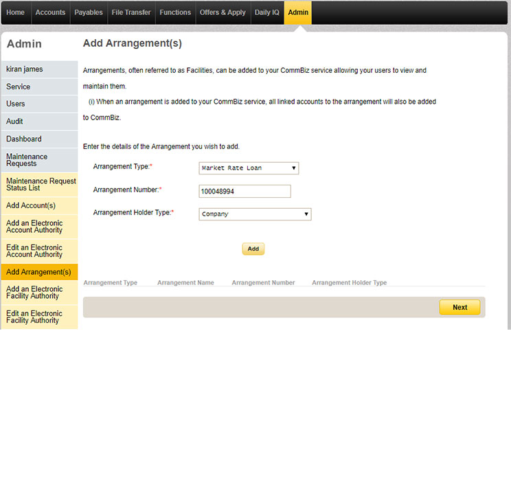 The add arrangements page under the Admin tab in CommBiz with details of the arrangement being added, entered