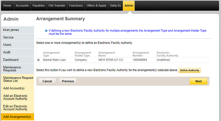 The arrangement summary page in Admin tab with details of the added Market Rate Loan displayed.