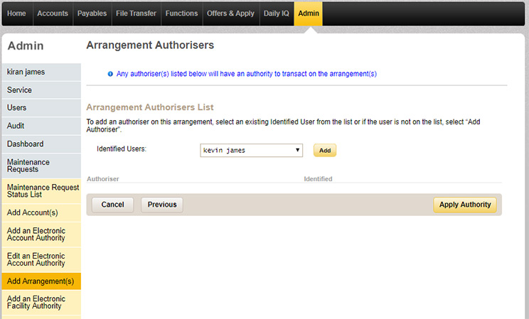 The arrangement authorisers page in CommBiz under Admin where you can add identified users as authorisers for the arrangement.