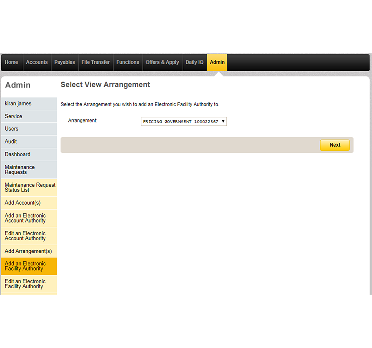 The view arrangement page under Admin in CommBiz that shows a drop down list of arrangements for the service.