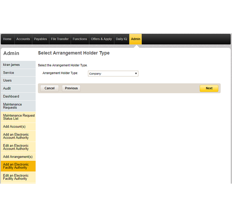 The select arrangement holder type page under Admin that shows the type of arrangement holders in a drop down menu.