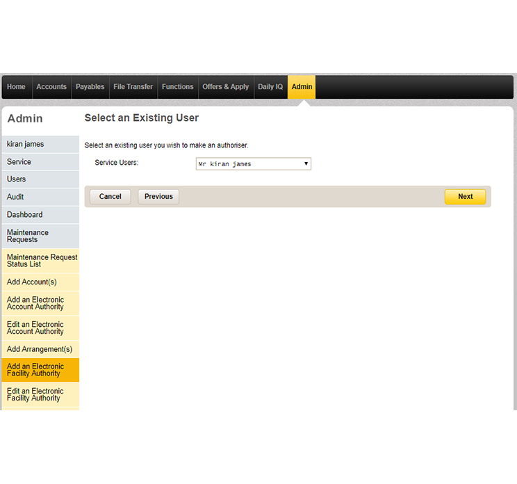 The select an existing user page in CommBiz that lets you choose who will authorise transactions on the arrangement you've added.