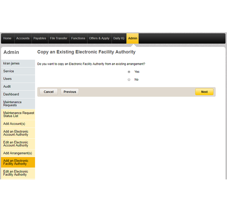 The copy an existing electronic facility authority page in CommBiz that lets you choose how you'd like to give authority to arrangements.