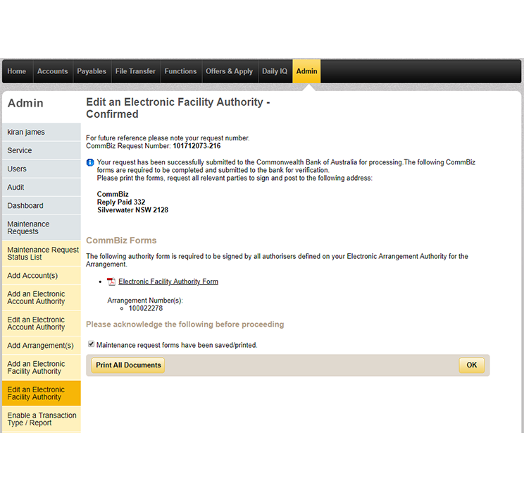 Confirmation page for the request to edit an electronic facility authority.