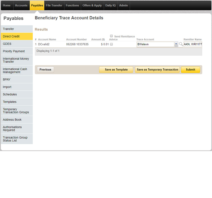 Beneficiary trace account details page in CommBiz that you can save as a template.