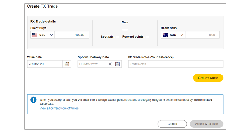 Create FX trade screen