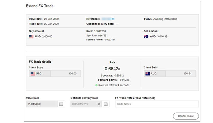 CommBiz Extend Trades screen