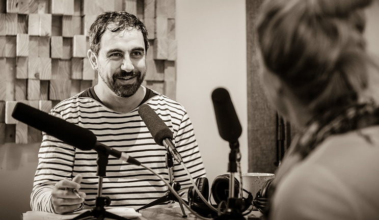 woman being interviewed in studio
