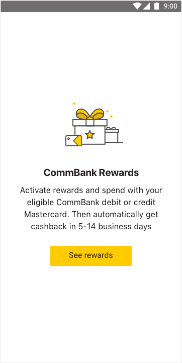 CommBank Rewards screen in the CommBank app