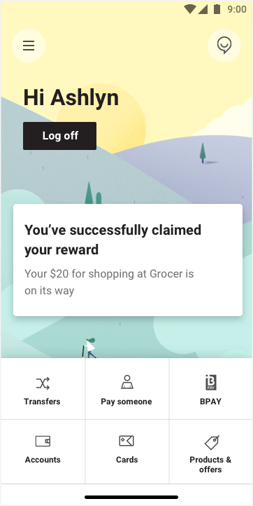 Screenshot of app home screen showing the reward is successfully claimed