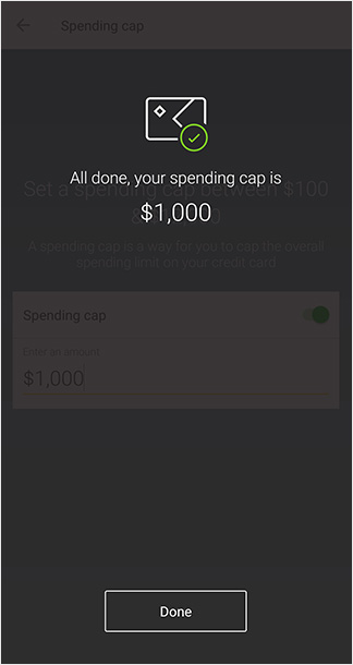 Confirmation screen that your spending cap is set