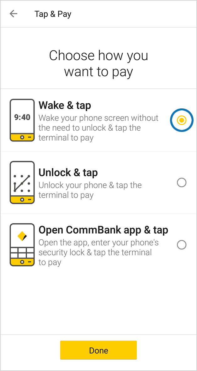 screen: CommBank app Tap & Pay - Choose how to pay (Wake & tap is selected)