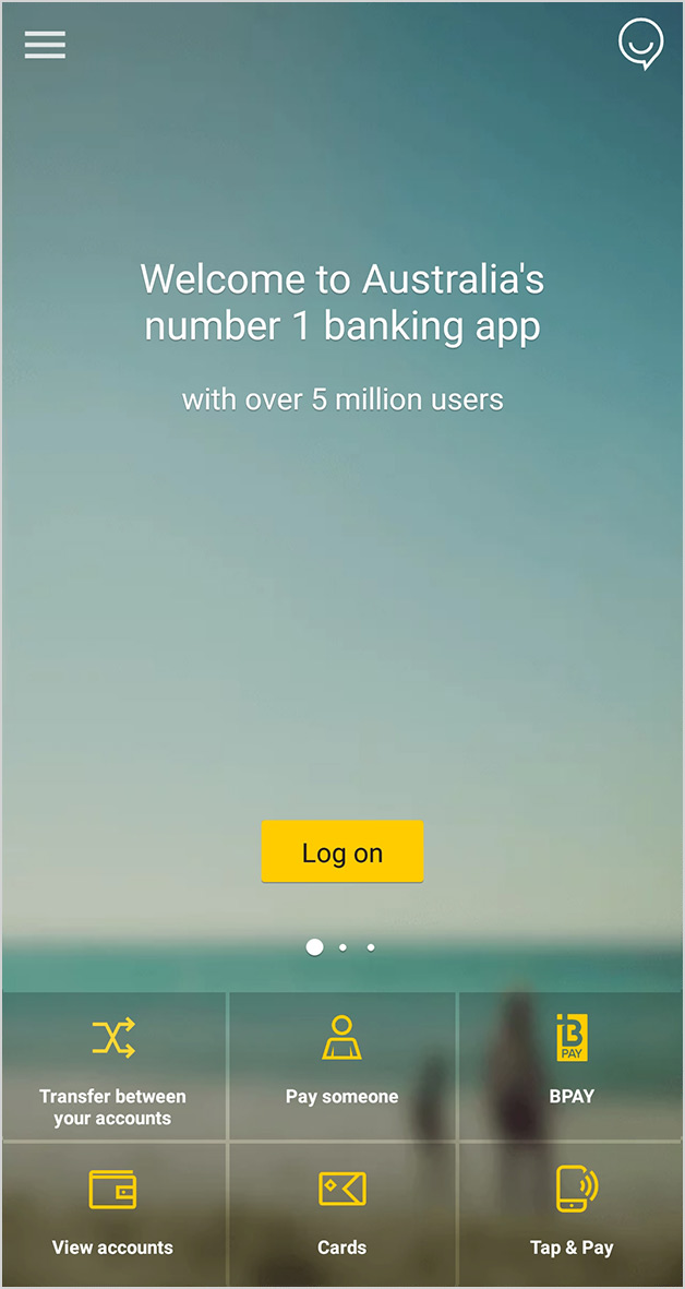 screen: CommBank app home screen with logon button