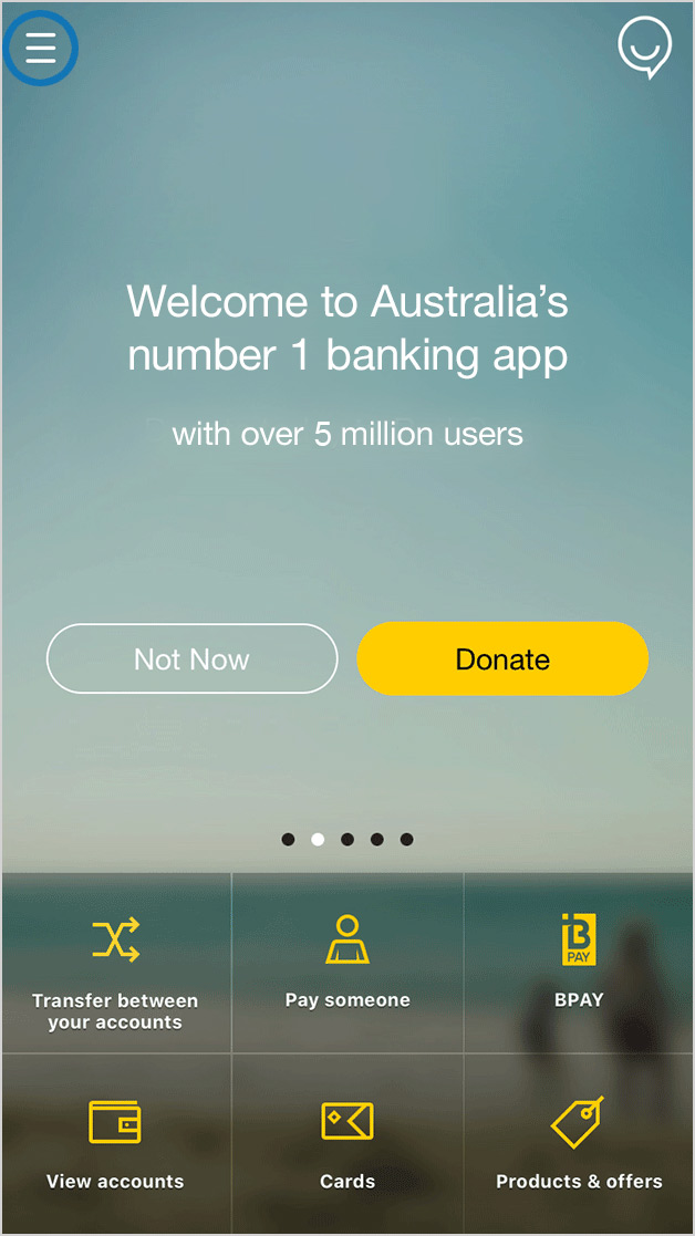 screen: Commbank app home screen - tap on the menu icon in the top left