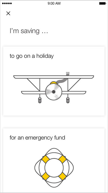 "Screenshot: ""I'm saving..."" options are for a holiday, emergency fund etc"
