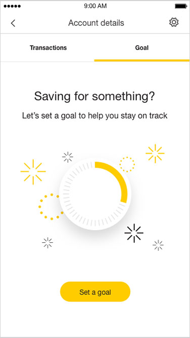 Screenshot 'Saving for something?. Let's set a goal to help you stay on track.' Button: 'Set a goal'