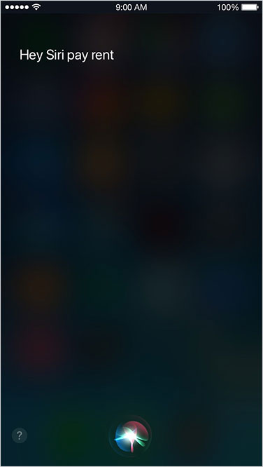 Screenshot showing Siri waiting for your phrase
