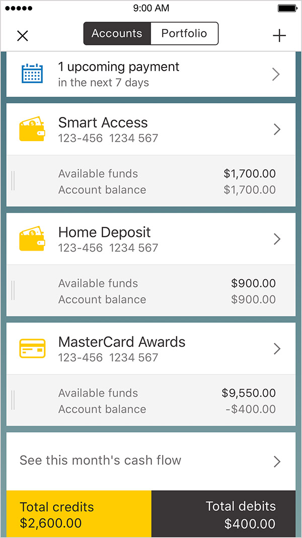 Screenshot of Account View page in the CommBank app