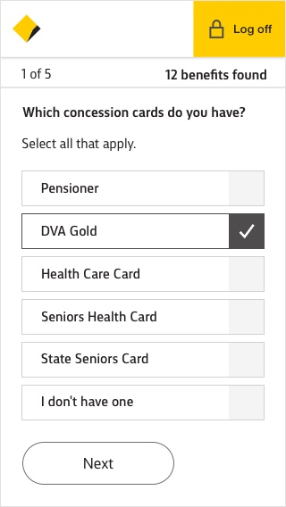 Screen showing the question: Which concession cards do you have?